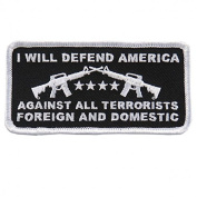 I WILL DEFEND AMERICA Against All Terrorists Foreign and Domestic - 10cm x 5.1cm Embroidered PATCH
