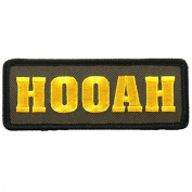 HOOAH, High Thread Embroidered Iron-On / Saw-On, Heat Sealed Backing Rayon PATCH - 10cm x 5.1cm