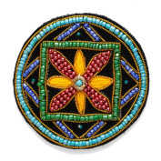 Stitch-on Beaded Applique Patch by pc, 5.1cm - 0.6cm D, OSB-30482