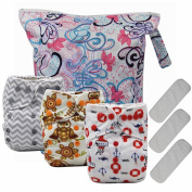 Asenappy 3PCS Reusable Cloth Pocket Nappies with one wet bag