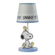 Bedtime Originals Peanuts Forever Snoopy Lamp With Shade & Bulb, Blue/Grey