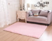 Living Room Rug, CWKTITI Super Soft Indoor Modern Shag Area Rugs Bedroom Rug for Children Play Solid Home Decorator Floor Rug and Carpets 4- Feet By 5- Feet, Pink