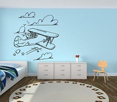 Wall Decal Sticker Bedroom Aeroplane Clouds Sky Cartoon Cute Nursery Kids Girls Room 579b