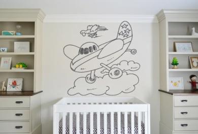 Wall Decal Sticker Bedroom Aeroplane Clouds Sky Cartoon Cute Nursery Kids Girls Room 518b