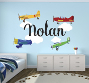 Personalised Aeroplanes Name Wall Decal - Baby Boy Room Decor - Nursery Wall Decals - Aeroplanes Clouds Wall Decal Vinyl Sticker for Boys