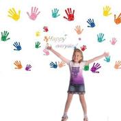 Kids Wall Art Sticker Set 26pcs Hands Handprints DIY Wall Decor Decals Happy Everyday