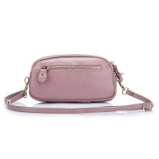 Aladin Womens Small Leather Crossbody Bag / Wristlet Purse 2 In 1 Handbag, Triple Zipper Compartments