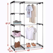 Silver Portable Closet Organiser Storage Clothes Hanger Garment Shelf Rail Rack