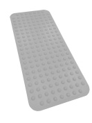 EXTRA LONG Rubber Bath Mat Non Slip 100cm x 44cm Suction Cups Secure Mat To Tub By Sultan's Linens, Grey