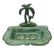Tropical Palm Tree Cast Iron Soap Dish - Verdigris & Gold Finish