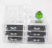 Clear Acrylic Cosmetics Makeup and Jewellery Organiser 3 Drawers with 8 Compartments Top Section with a Complimentary Crystal Green Crystal Ball~ We Pay Your Sales Tax