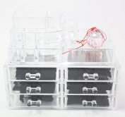 Clear Acrylic Cosmetics Makeup and Jewellery Organiser 3 Drawers with 8 Compartments Top Section with a Complimentary Crystal Pink Crystal Ball~ We Pay Your Sales Tax