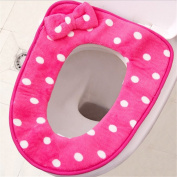 RuiChy Bathroom Warmer Washable Soft Toilet Seat Lid Cover Pads, Hot Pink