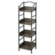 Zenna Home Pewter 4-Tier Bathroom Wall Shelf in Grey l 30cm L x 35cm W x 120cm H l Metal Frame and Wood Shelves for Durability