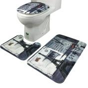 Door Mats, Siniao 3Pcs/set Bathroom Non-Slip Blue Ocean Style Pedestal Rug + Lid Toilet Cover + Bath Mat