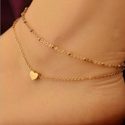 DZT1968 Womens Elegant Double Chain Heart Bead Anklet Ankle Bracelet Beach Foot Jewellery Gold