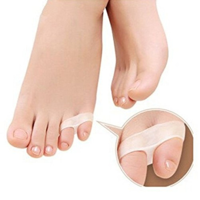 2pcs Silicone Alignment Comfortable Silicone Day & Night Little Toe Bunion Splint Straightener Spacer Foot Pain Relief Corrector Protector Spreader Last Toe Shield Sleeve Pad Cushion