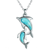 Sterling Silver Larimar Mother & Baby Dolphin Pendant with 46cm Box Chain