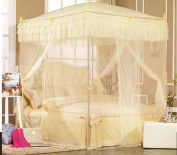 Nattey Yellow 4 Corner Post Bedding Canopy Mosquito Netting With Frame(Post) Queen Size