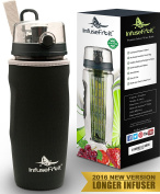 Hydracy Fruit Infuser Water Bottle - Large 1Litre Sport Bottle with Full Length Infusion Rod and Insulating Sleeve Combo Set + 25 Fruit Infused Water Recipes eBook - Your Healthy Hydration Made Easy