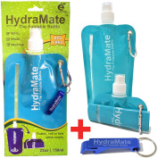 FOLDABLE WATER BOTTLE. BPA Free. 750ml/25oz. HydraMate lightweight, soft, collapsible eco-friendly folding bottle for gym, outdoors, travel. Sports cap with hygienic safety lid. Refillable. Water viewing window. Carabiner clip. FREE keyring bottle open ..