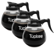 Tupkee Glass Coffee Pot Decanter / Replacement Carafe, 1890ml 12-Cup, Black Handle / Regular, Set of 3