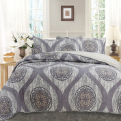 DaDa Bedding Classical Mosaic Medallion Reversible Cotton Quilted Coverlet Bedspread Set - Bright Vibrant Multi Charcoal Grey Geometric Curve Floral Print - Cal King - 3-Pieces