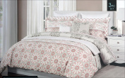 Cynthia Rowley Bedding 3 Piece King Duvet Cover Set Geometric Medallion Pattern in Shades of Salmon Pink Grey and White