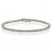 Sterling Silver Cubic Zirconia 2mm Round-cut S Design Tennis Bracelet