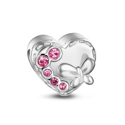 TINYSAND 925 Sterling Silver Valentines Gift Love Charm Beads for Snake Bracelet