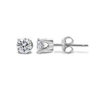 JewelMore 14K White Gold Solitaire Diamond Earrings