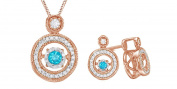 Blue and White Natural Diamond Pendant and Earrings Set In 14K Gold Over Sterling Silver