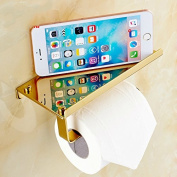 AUSWIND Antique Gold Polished Toilet Paper Holder with Phone Holder Cover Stainless Steel Wall Mounted Bathroom Accessory