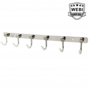 WEBI Stainless Steel 6 Peg J-shape Robe Bath Kitchen Towel Hat Coat Hook Garment Rack Hanger Rail Holder, Door Wall Mount Closet Clothing Bathroom Garage Home Organisation Storage, Polished J-YD-LG06