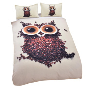 Sleepwish 3D Cute Owl Bedding Set, Cafe Coffee Beans Printed Duvet Cover Set, Home Textiles Fancy Comforter Set, Great Gift for The Coffee Lover King Size