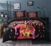Sleepwish Super Soft Duvet Cover Set with 2 Pillow Shams,Elephant Mandala Pattern,Bohemia Exotic Patterns Design