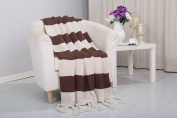 Vintage Knitted Throw Couch Cover Sofa Blanket, 50x60, Chocolate