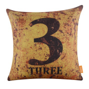LINKWELL 46cm x 46cm Metal Look Rusted Charming Number Three Burlap Cushion Covers Pillow Case