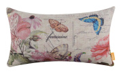 LINKWELL 50cm x 30cm Fashion Flower and Butterfly Burlap Cushion Covers Pillow Case