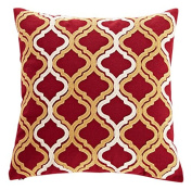 Calla Angel CAPDXHGM25 Red & Gold Embroidered Quatrefoil Throw Pillow,Red/Gold,46cm X 46cm