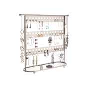 Earring Holder Stand Jewellery Organiser Tree Necklace Display Storage Rack w/Tray, Laela Satin Nickel Silver