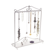Necklace Holder Stand Jewellery Tree Organiser Storage Rack Bracelet Display w/Tray, Calla White