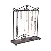 Necklace Holder Stand Jewellery Tree Organiser Storage Rack Bracelet Display w/Tray, Calla Black