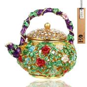 YUFENG Mini Teapot Trinket Box Hinged For Girls Ring Holder Handmade Ring Holder Dish Decorated