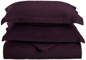 Blue Nile Mills 1500 Series Microfiber Solid Duvet Cover Set, Extra Soft, Wrinkle Resistant, Twin/Twin XL, Plum