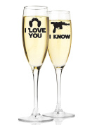 Mr and Mrs Champagne Wedding Flutes Star Wars Inspired I Love You I Know Quote Set of 2 Customised Toasting Flutes Glasses Bride and Groom Gift