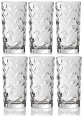 Crystal Highball Glasses [Set of 6] Drinking Glasses for Water, Juice, Beer, Wine, and Cocktails Tall Clear Heavy Base Bar Glass With Leaf/Twig Design, | 350mls