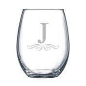 4-pc Classic Elegance Initial Engraved 440ml Stemless Wine Glass, Letter J