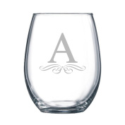 4-pc Classic Elegance Initial Engraved 440ml Stemless Wine Glass, Letter A