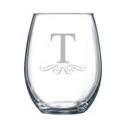 4-pc Classic Elegance Initial Engraved 440ml Stemless Wine Glass, Letter T